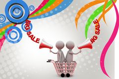 3d man big sale  illustration Royalty Free Stock Photography