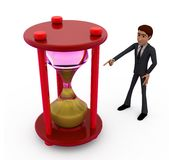 3d man with big sand clock concept Royalty Free Stock Image