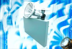 3d man with big silver speaker and hide behind wall illustration Royalty Free Stock Photos
