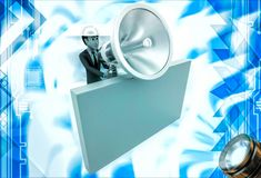 3d man with big silver speaker and hide behind wall illustration Royalty Free Stock Photography