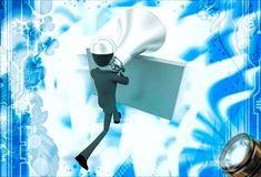 3d man with big silver speaker and hide behind wall illustration Stock Image