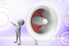 3d man big speaker  illustration Royalty Free Stock Photo