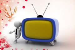 3d man with big tv illustration Royalty Free Stock Images