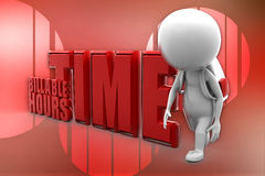 3D man Billable Hours Time Illustration Royalty Free Stock Images