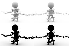 3d man bind chain concept collections with alpha and shadow channel Stock Photo