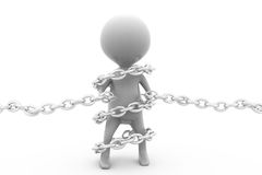 3d man bind chain concept Stock Photo