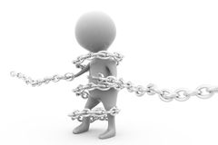 3d man bind chain concept Royalty Free Stock Photo