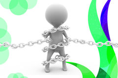 3d man bind chain  illustration Stock Photo