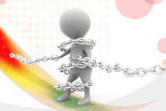 3d man bind chain  illustration Stock Photos