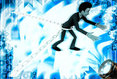 3d man bind by metalic chain and try to escape illustration Royalty Free Stock Photo