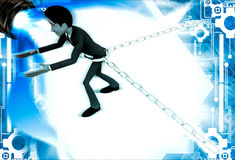 3d man bind by metalic chain and try to escape illustration Royalty Free Stock Images
