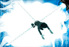 3d man bind by metalic chain and try to escape illustration Stock Photography