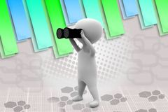 3d man binocular  illustration Stock Photography