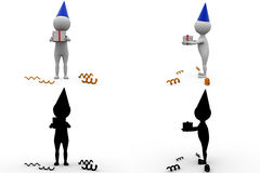 3d man birthday gift concept collections with alpha and shadow channel Royalty Free Stock Images