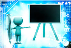 3d man with black board and big fountain pen illustration Stock Images