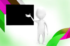 3d man black board  illustration Stock Image