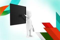 3d man black board  illustration Royalty Free Stock Images