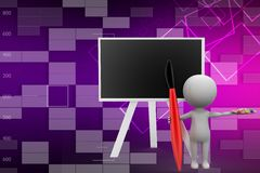 3d man and blackboard with artistic paint and brush illustration Stock Photography