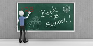 3d man with blackboard back to school. 3d man with back to school Stock Photography