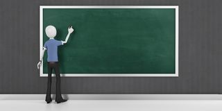 3d man with a blank blackboard detailed. 3d man with a blank blackboard Stock Images