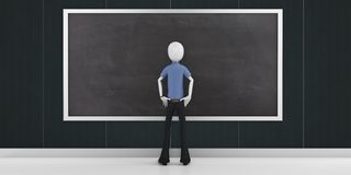 3d man with a blank blackboard detailed. 3d man with a blank blackboard Stock Photography