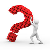 3d man block question mark illustration Stock Image