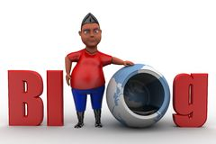 3d man blog illustration Royalty Free Stock Image