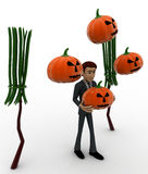 3d man with bloomstick and halloween pumpkin concept Royalty Free Stock Photo