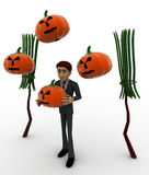 3d man with bloomstick and halloween pumpkin concept Royalty Free Stock Image