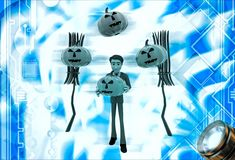 3d man with bloomstick and halloween pumpkin illustration Stock Image