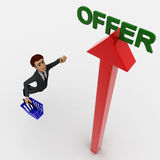 3d man with blue bucket and flying toward offer concept Royalty Free Stock Photo