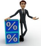3d man with blue discount cubes concept Stock Photos