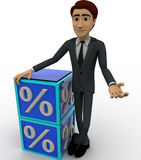 3d man with blue discount cubes concept Stock Photography