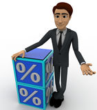 3d man with blue discount cubes concept Stock Images