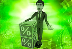 3d man with blue discount cubes illustration Stock Photography