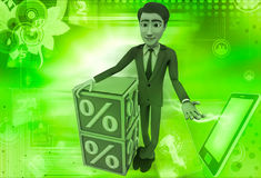 3d man with blue discount cubes illustration Royalty Free Stock Photos