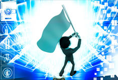 3d man with blue flag in hands and polling it illustration Stock Images