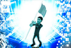 3d man with blue flag in hands and polling it illustration Royalty Free Stock Photography