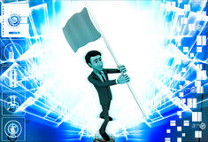 3d man with blue flag in hands and polling it illustration Royalty Free Stock Photos