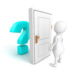 3d man with blue question mark behind door Royalty Free Stock Photo
