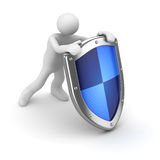 3d man with blue shield Stock Photo