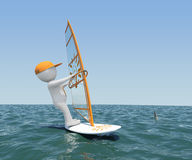 3d man on board with sail floating on the sea. 3d white man on a board with a sail floating on the sea. Against the background of blue sky Royalty Free Stock Photography