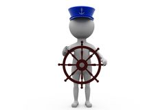3d man boat captain concept Royalty Free Stock Photo