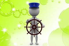 3d man boat captain  illustration Royalty Free Stock Photos