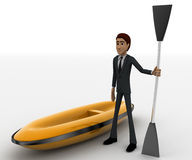 3d man with boat and paddle of boat concept Royalty Free Stock Images