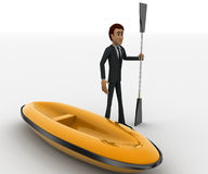3d man with boat and paddle of boat concept Stock Photos