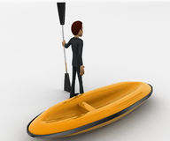 3d man with boat and paddle of boat concept Stock Photography