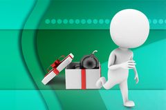 3d man bomb on gift illustration Royalty Free Stock Photos