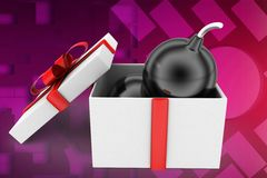 3d man bomb on gift illustration Stock Image