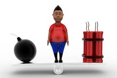 3d man bomd and rdx on see saw Royalty Free Stock Photos